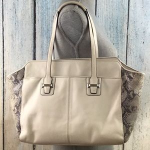 Coach white leather and snake skin large satchel